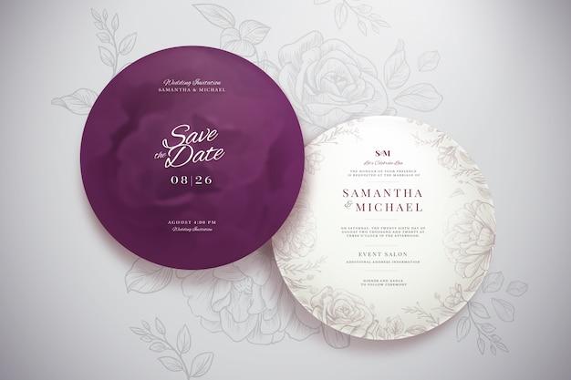 Elegante ronde bruiloft uitnodiging sjabloon set