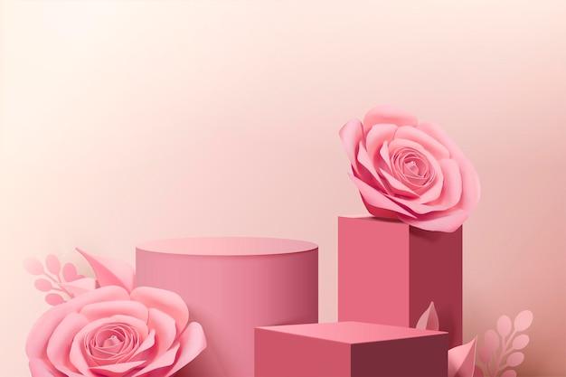 Elegante roze papieren bloemen en podiumkolom in 3d-stijl