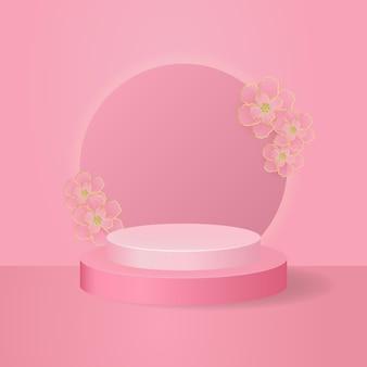 Elegante roze podium podium render-sjabloon voor productweergave. vector achtergrond versierd met kersenbloesem bloem.