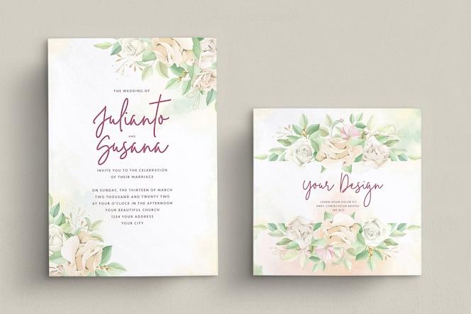 Elegante rozen bruiloft uitnodiging kaartenset