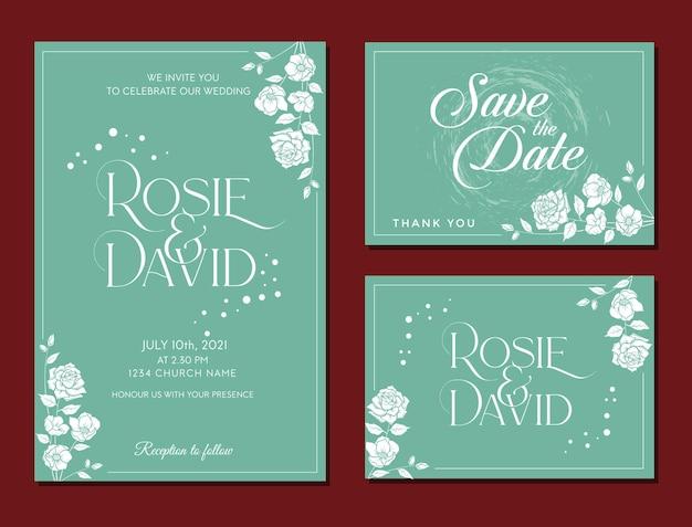 Elegante rustieke set huwelijksuitnodiging bewaar de datum rsvp bloemdessin vector