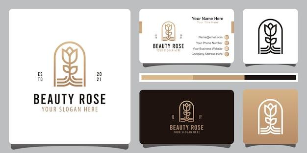 Elegante schoonheid roos lijntekeningen logo met visitekaartje