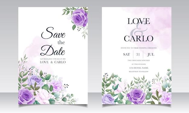Elegante set bruiloft uitnodigingskaarten met prachtige paarse bloemen