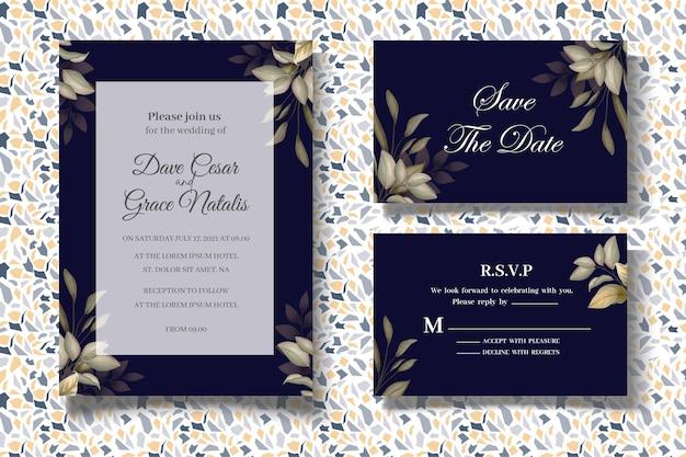 Elegante set trouwkaarten met prachtige bladeren