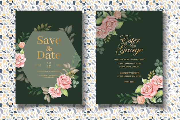 Elegante set trouwkaarten met prachtige rozen