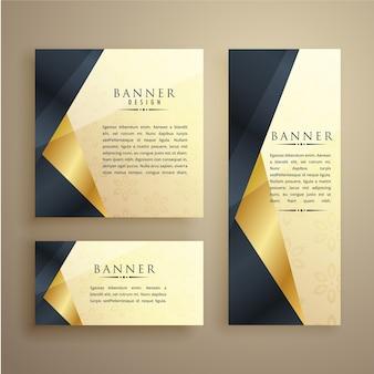 Elegante set van drie premium banners of kaart ontwerp sjabloon