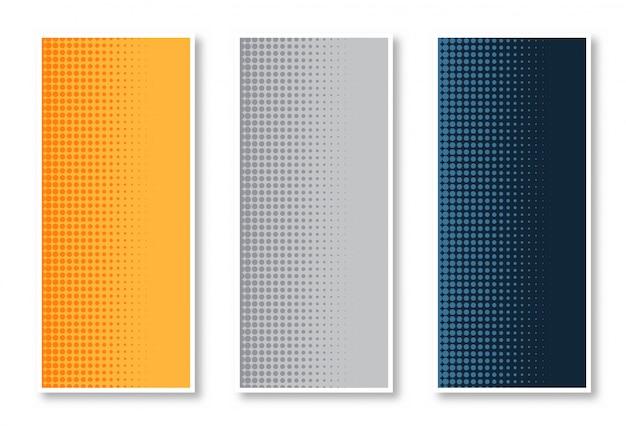 Elegante set van halftone verticale bannerachtergrond