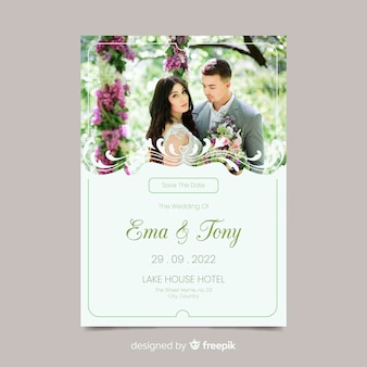Elegante sier bruiloft uitnodiging sjabloon met foto