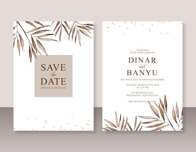 Elegante sjabloon voor huwelijksuitnodigingen met aquarel