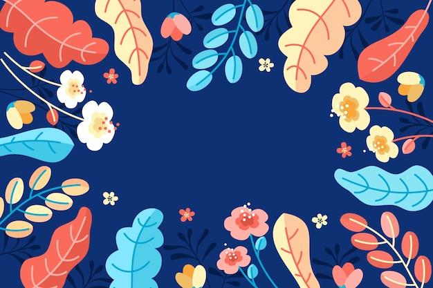 Elegante sjabloonachtergrond met bladeren vlak ontwerp