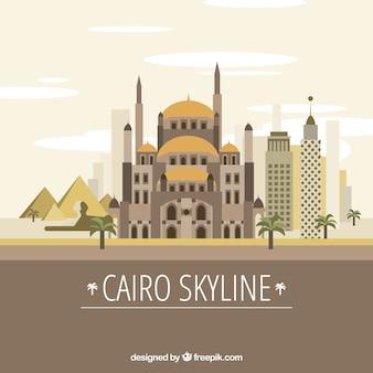 Elegante skyline van caïro met plat ontwerp