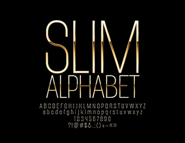 Elegante slanke alfabetletters en cijfers gouden luxe lettertype