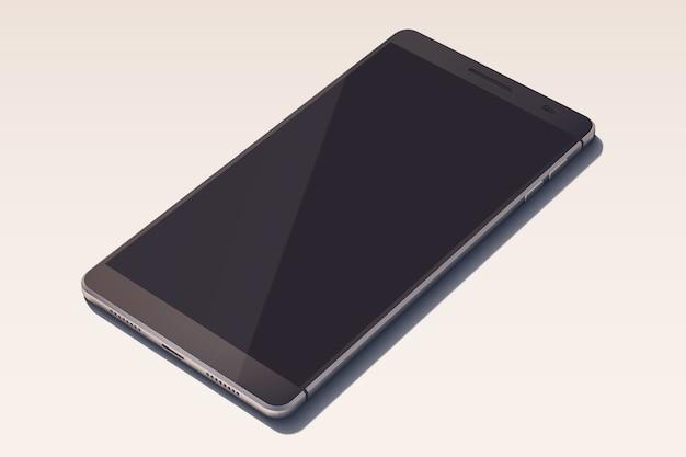 Elegante smartphone in zwarte kleur met leeg scherm