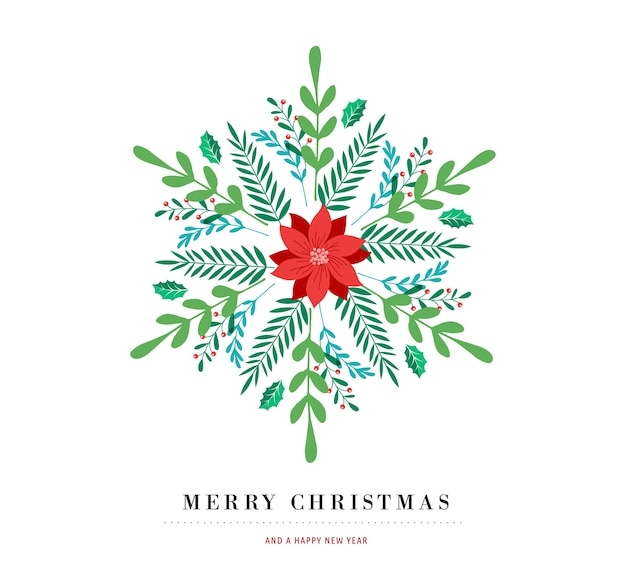 Elegante sneeuwvlok poster, winter pictogram, merry christmas wenskaart