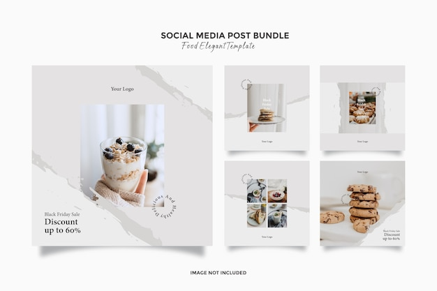 Elegante social media food post-sjablonenbundel voor black friday-uitverkoop