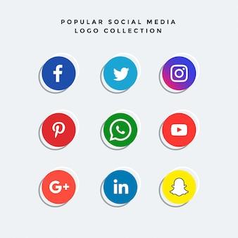 Elegante sociale media iconen collectie