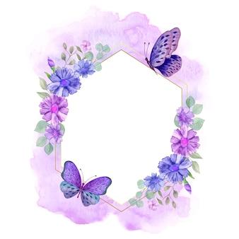 Elegante stijl aquarel bloemenframe met botanische decoratie