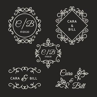 Elegante stijl bruiloft logo's
