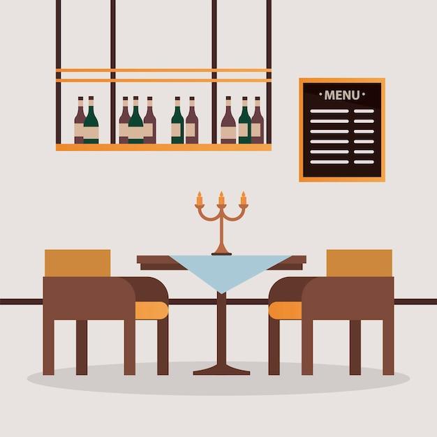 Elegante tafel en stoelen met kroonluchter restaurant forniture scène