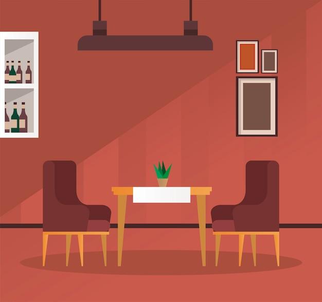 Elegante tafel en stoelen met lamprestaurant voor meubelscène