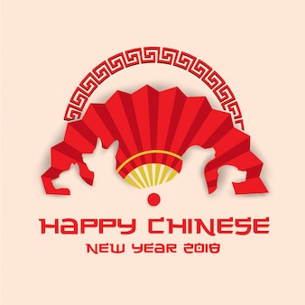 Elegante traditionele chinese nieuwjaar 2018 hond jaar banner en kaart illustratie