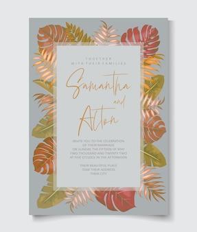 Elegante tropische bruiloft uitnodiging sjabloon