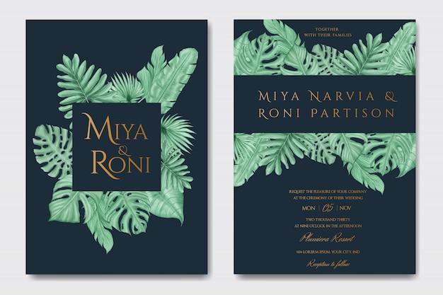 Elegante tropische zomerbladeren voor bruiloft uitnodiging kaartsjabloon