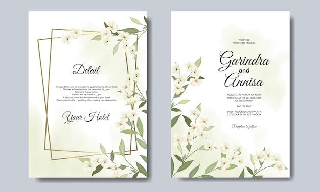 Elegante trouwkaart met mooie bloemen en bladeren sjabloon premium vector