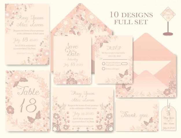 Elegante trouwkaarten bestaan uit verschillende soorten bloemen.