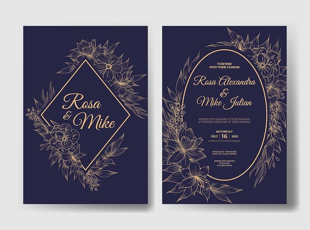 Elegante trouwkaartuitnodiging met prachtige bloemsjabloon