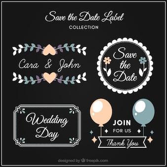 Elegante trouwlabels met vlak ontwerp
