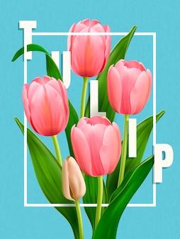Elegante tulpaffiche, bloemelementen in illustratie, elegante tulpen op eenvoud blauwe achtergrond