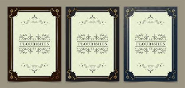 Elegante uitnodiging of wenskaart met gouden frame-ontwerp