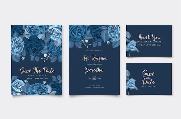 Elegante uitnodigingskaart met klassieke blauwe bloemensjabloon