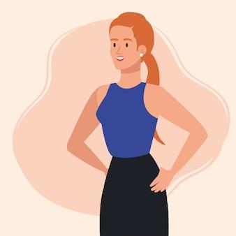Elegante uitvoerende zakenvrouw avatar characterdesign illustratie