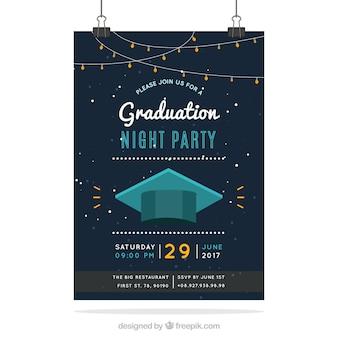 Elegante universiteitsfeestbrochure met mortelplank