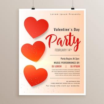 Elegante valentijnsdag flyer poster ontwerpsjabloon