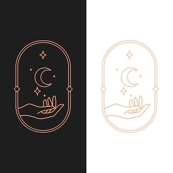 Elegante vector hend logo sjabloon in twee kleurvariaties. art deco-stijl logo-ontwerp voor luxe bedrijfsbranding. premium identiteitsontwerp.