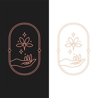 Elegante vector lotus hend ovale logo sjabloon in twee kleurvariaties. art deco-stijl logo-ontwerp voor luxe bedrijfsbranding. premium identiteitsontwerp.