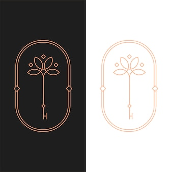 Elegante vector lotus sleutel ovale logo sjabloon in twee kleurvariaties. art deco-stijl logo-ontwerp voor luxe bedrijfsbranding. premium identiteitsontwerp.