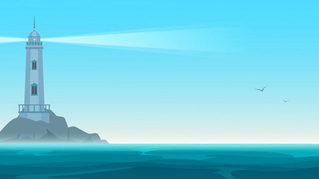 Elegante vector vuurtoren op rotseiland. navigatiebaken gebouw in blauwe zee