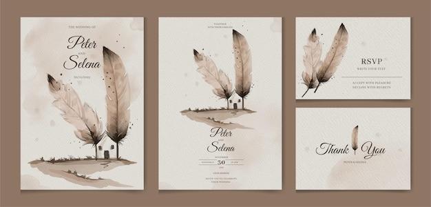 Elegante veren gemaakt huis koffie minnaar aquarel bruiloft uitnodiging set