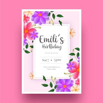 Elegante verjaardag uitnodiging sjabloon en bloemen