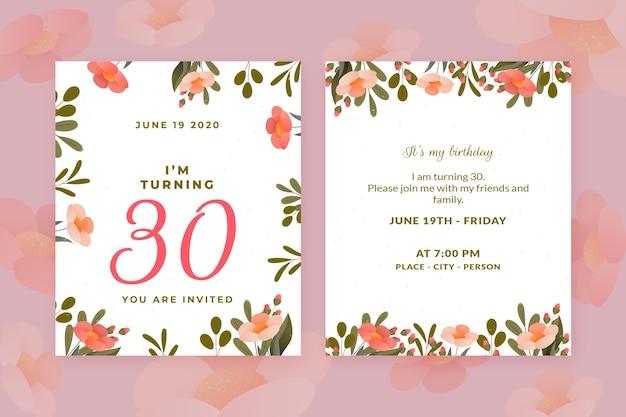 Elegante verjaardag uitnodiging sjabloon set
