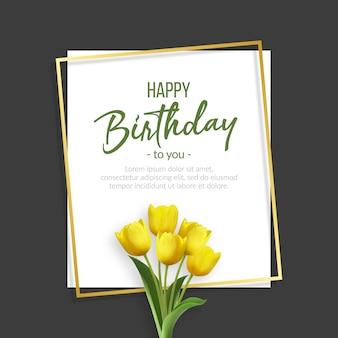 Elegante verjaardagsachtergrond met geel tulpenboeket