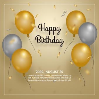 Elegante verjaardagsballon met gouden en zilveren ballonsjabloon