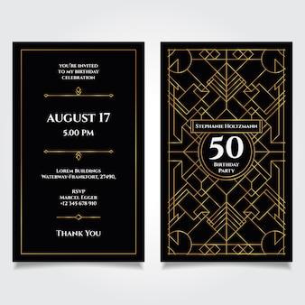 Elegante verjaardagskaart uitnodigingssjabloon