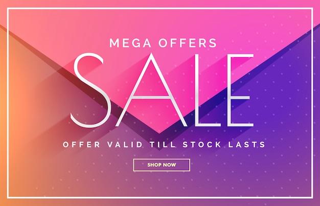 Elegante verkoop banner voucher sjabloon ontwerp in roze en paarse tinten
