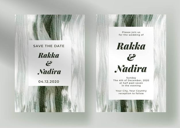 Elegante verloving bruiloft uitnodiging sjabloon met abstract schilderij groen