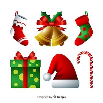 Elegante verzameling kerstelementen met realistisch design